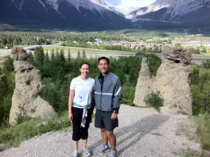 Mark and Robin hiking in Canmore, Alberta